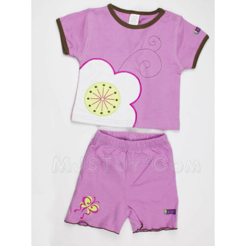 NWT Sozo Girl Summer Outfit 100% Soft Cotton Purple Shirt & Short Set 6-12 Mos.