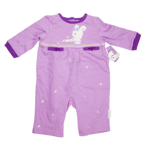 NEW Buster Brown Purple Bunny Girl Romper+ Rattle bracelet 100% Cotton 3-6 Mo.