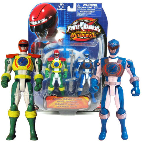 "NEW Bandai Power Rangers Operation Overdrive 6"" Action Figure Green & Blue"