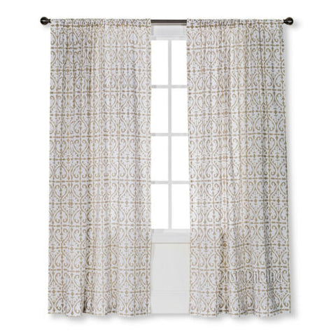 "NEW Threshold One Window Panel Cream/White Flocked Scroll 54""x84"" Window Curtain"