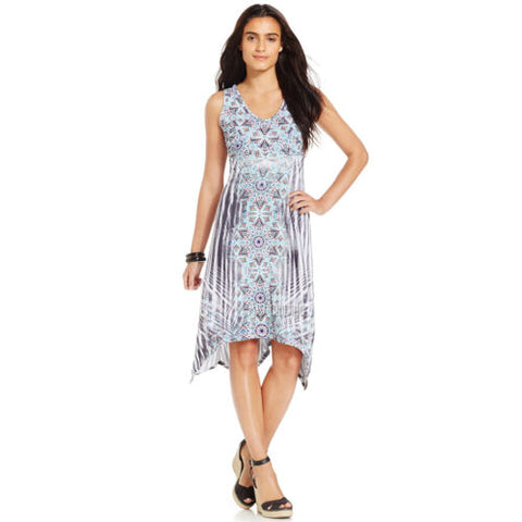 NWT Style & Co. Medallion Print V-neck Sleeveless Handkerchief-Hem Dress M-XL