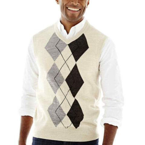 NWT Dockers ARGYLE Oatmeal Cream Pull over Warm Acrylic Sweater Vest $45 Size L