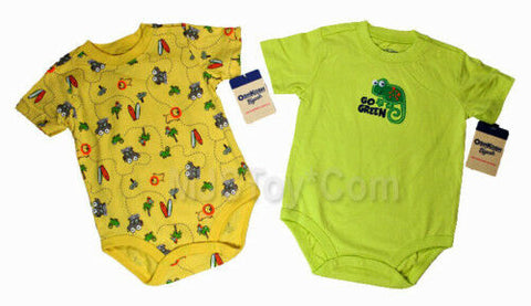 NWT OshKosh B'Gosh Baby Go Green Lizard Bodysuit Lot 2 9 Months Shirt Romper Set