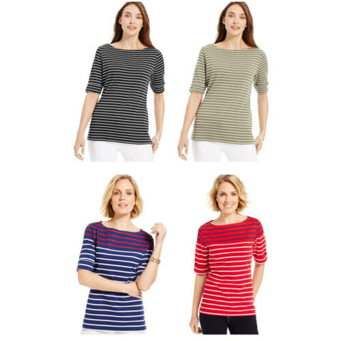 NWT Karen Scott Striped Elbow-Sleeve Boat-Neck Top Tee T-Shirt 4 Colors XS/S/M