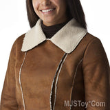 NWT Xhilaration Women Brown Cropped Faux Jacket Coat L