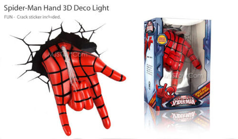 NEW Marvel Ultimate Spider-Man Hand 3D Deco Wall Art Night Light LED Crack