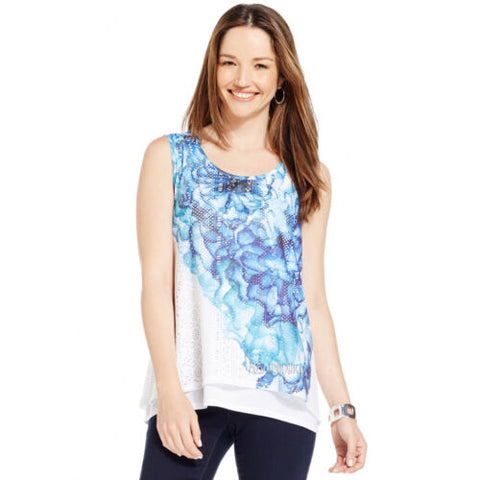 NWT Style & Co. Printed Semi-Sheer Layered-Look Top Beautiful Sleeveless Shirt