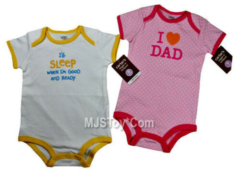 NWT I'll Sleep When I'm Good & I LOVE DAD Bodysuit 9 Months Shirt Baby Lot of 2