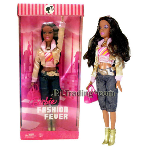 Year 2006 Barbie Fashion Fever 12 Inch Doll NIKKI in Gold Jacket and Denim Pants