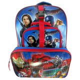 NEW Civil War Captain America Bag School Backpack with Cargo Pocket & Lunch Box