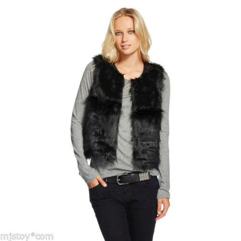 NWT Mossimo Supply Co Women's Cropped Black Faux Fur Soft Luxurious Stylist Vest