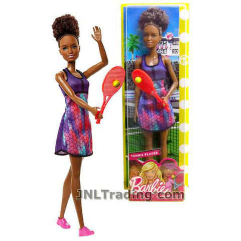 "NEW 2017 Barbie Career Series 12"" Doll SHANI as TENNIS PLAYER FJB11 + Racket"