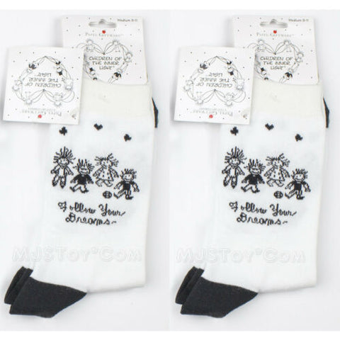 "NWT 2 Pair of Children Socks by Enesco ""Follow Your Dream"" Black & White M 9-11"