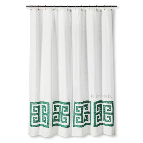 "Threshold Shower Curtain Green Greek Key 100% Cotton Standard Top 72""x72"""