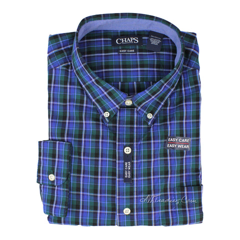 Chaps by Ralph Lauren Men's Easy Care Long Sleeve Classic Plaid Woven Shirt