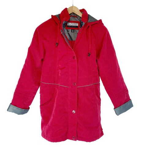 Big Chill Women Warm Red Ultra Silk Capelet Jacket Very Nice Soft Coat S 2XL