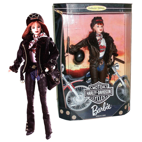 Barbie Year 1998 Harley-Davidson Motorcycle Series 12 Inch Doll Set - BARBIE with Harley Cap, Scarf, Sunglasses, Faux Leather and Fur Jacket, Satchel Bag, Helmet and Doll Stand