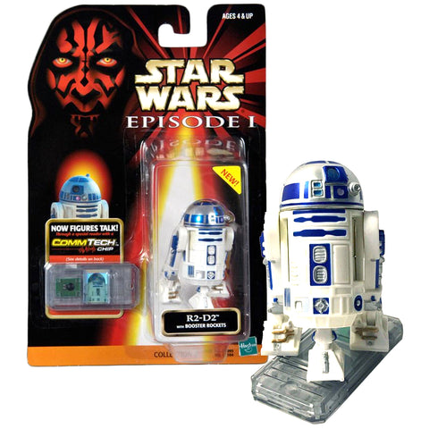 Star Wars Year 1998 The Phantom Menace Series 3 Inch Tall Figure : R2-D2 with Booster Rockets and CommTech Chip