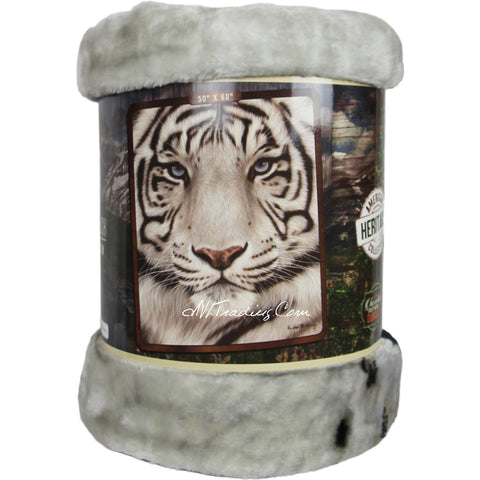 "American Heritage Royal Plush Raschel Throw Super Soft Warm Durable Blanket "" White Face Tiger"""
