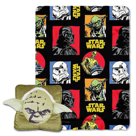 Disney Star Wars Jedi Master YODA Square 3D Pillow & Fleece Throw Combo Set