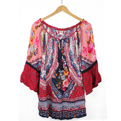 BILA Women's Red Boho Flowers Print Peasant Top Tassel Shirt Size 2XL