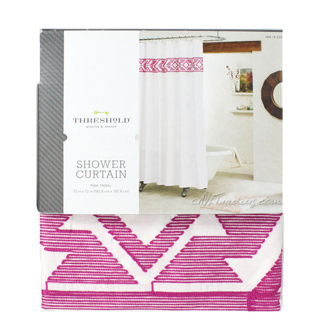 Threshold Fabric SHOWER CURTAIN Embroidered Pink Tribal 100% Cotton  72x72""