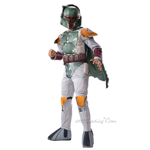Star Wars BOBA FETT Deluxe Child Costume Jumpsuit+Mask+ Cape