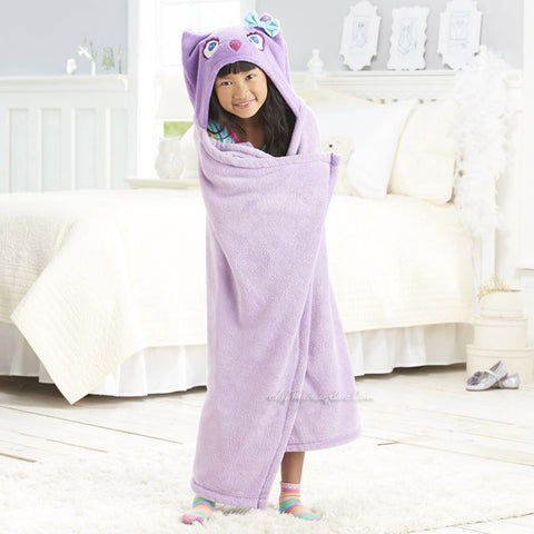 "Purple Owl Hooded Microplush Throw Warm Cozy Supersoft 50""x32"" Kids Blanket"