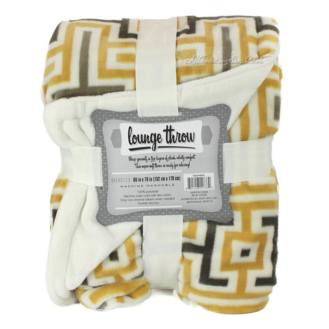 "Warm Super luxurious Soft Lounge Throw Blanket Geometric Yellow 60""x70"""
