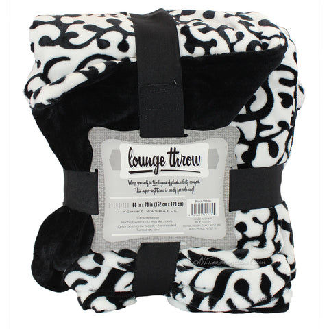 "Warm Super luxurious Soft Lounge Throw Blanket Black and White 60""x70"""