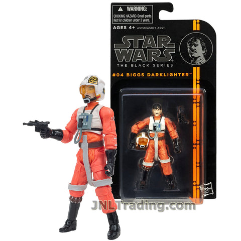 Star Wars  Year 2013 The Black Series 4 Inch Tall Figure #04 : X-Wing Pilot BIGGS DARKLIGHTER with Helmet and Blaster Gun