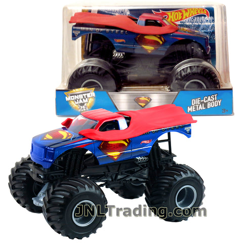 Hot Wheels Year 2017 Monster Jam 1:24 Scale Die Cast Monster Truck - SUPERMAN (CGD84) with Monster Tires, Working Suspension and 4 Wheel Steering