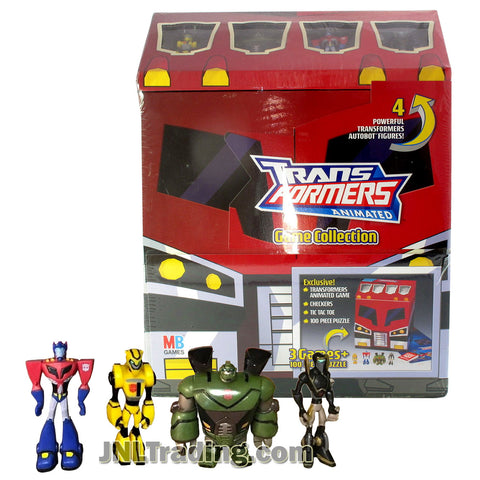 Transformers Year 2008 Animated Series Exclusive Game Collection with Transformers Animated Game. Checkers, Tic Tac Toe and 100 Piece Puzzle Plus 4 Exclusive Figures