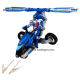 Bandai Year 2006 Power Rangers Operation Overdrive Series 8-1/2 Inch Long Action Figure Vehicle Set - BLUE HOVERTEK CYCLE that Morphs to Chopper with 2 Missiles Plus Blue Ranger Figure