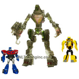 Hasbro Year 2008 Transformers Animated Series Exclusive 3 Pack Robot Action Figure Set - Deluxe Class STEALTH LOCKDOWN (Vehicle:Cruiser) with Flip Out Hook  Plus Legends Class Bumblebee (Vehicle:Compact Car) and Optimus Prime (Vehicle: Rig Truck)