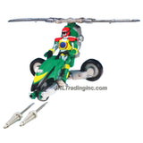 Bandai Year 2006 Power Rangers Operation Overdrive Series 8-1/2 Inch Long Action Figure Vehicle Set - GREEN HOVERTEK CYCLE that Morphs to Chopper with 2 Missiles Plus Green Ranger Figure