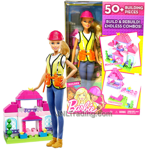 Year 2016 Barbie Career You Can Be Anything Series 12 Inch Doll - Caucasian BUILDER with Tool Belt, Helmet and Building Pieces for Beach House or Treehouse