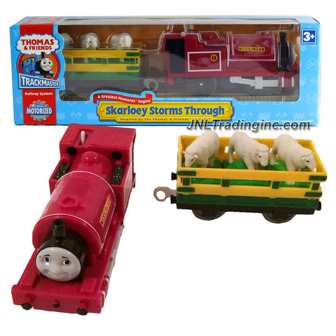 HiT Toy Year 2007 Thomas and Friends Trackmaster Motorized Railway Battery Powered Tank Engine 2 Pack Train Set - SKARLOEY STORMS THROUGH with Sheeps Loaded Wagon