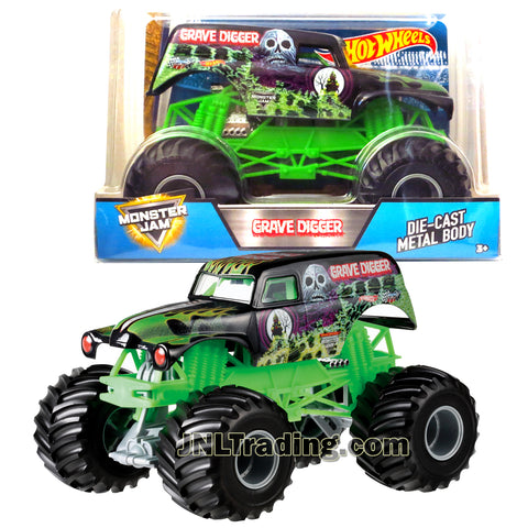Hot Wheels Year 2017 Monster Jam 1:24 Scale Die Cast Metal Body Official Truck - GRAVE DIGGER CCB06-0932 with Monster Tires, Working Suspension and 4 Wheel Steering