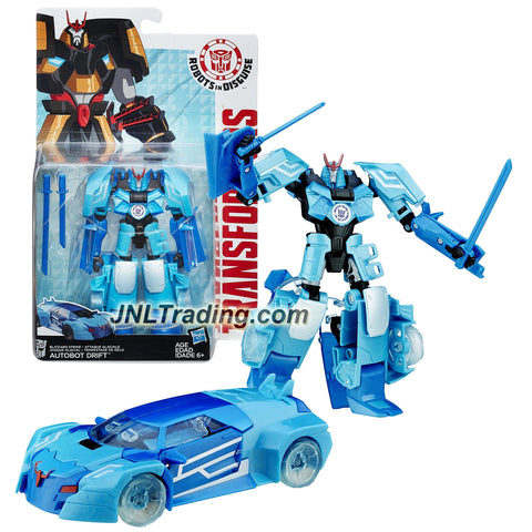 "Hasbro Year 2015 Transformers Robots in Disguise Warrior Class 5-1/2"" Tall Figure - Blizzard Strike AUTOBOT DRIFT with Swords (Vehicle: Sports Car)"