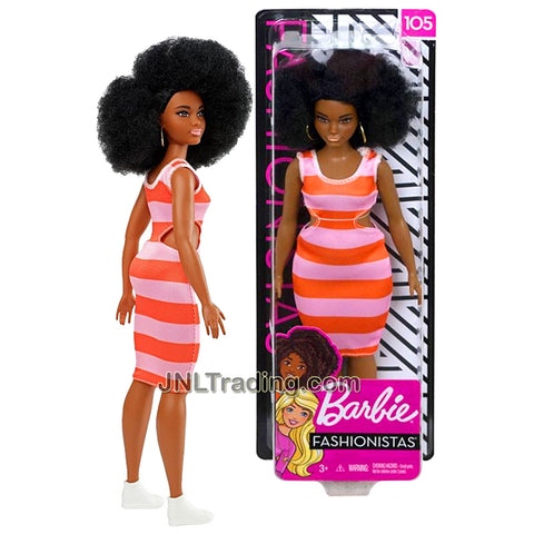 Year 2018 Barbie Fashionistas Series 12 Inch Doll #105 - Curvy African American Model in Peach Orange Stripes Dress with Earrings