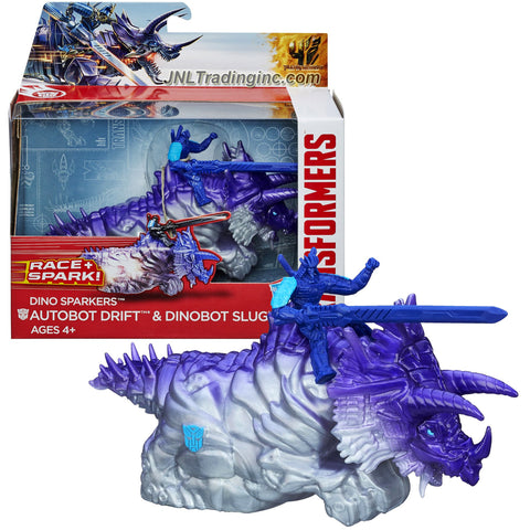Hasbro Year 2014 Transformers Movie Age of Extinction Dino Sparkers Series 6 Inch Long Action Figure Racer - AUTOBOT DRIFT and DINOBOT SLUG with Battle Spark FX