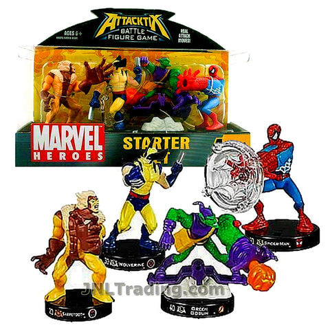 Attacktix Year 2006 Marvel Heroes Series Battle Figure Game Starter Set - SABRETOOTH, WOLVERINE, GREEN GOBLIN and SPIDER-MAN