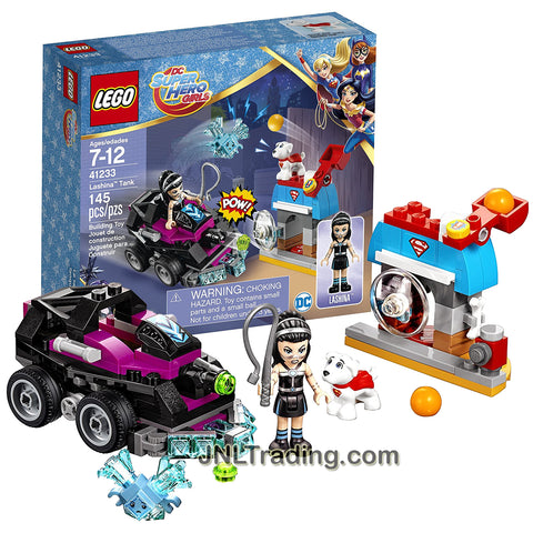 Lego Year 2017 DC Super Hero Girls Series Set #41233 - LASHINA TANK with Cage, Confused Kryptomite Plus Krypto and Lashina Minifigure (Pieces: 145)