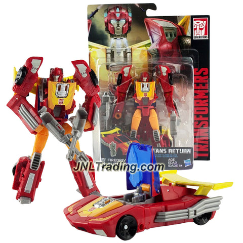 Hasbro Year 2016 Transformers Titans Return Series 5-1/2 Inch Tall Figure - FIREDRIVE & AUTOBOT HOT ROD with Blasters & Card (Vehicle: Race Car)