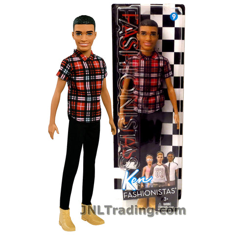 Barbie Year 2016 Fashionistas Series 12 Inch Doll - African American KEN FNH41 in Plaid on Point Shirt and Black Pants
