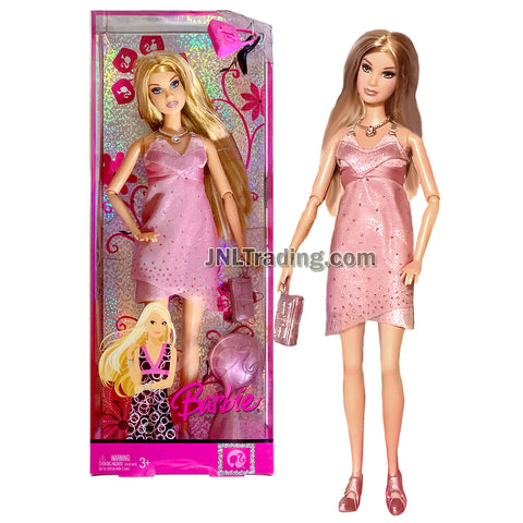 Year 2007 Barbie Fashion Fever Series 12 Inch Doll - SUMMER in Pink Dress with Necklace, Purse and Hairbrush
