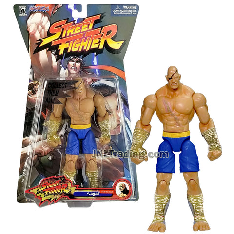 Year 2005 Capcom Street Fighter Series 7 Inch Tall Figure - SAGAT (Player 1) in Blue Trunk