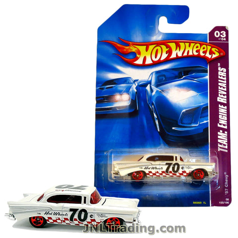 Hot Wheels Year 2006 Engine Revealers Series 1:64 Scale Die Cast Car Set #155 - White Classic Coupe California '57 CHEVY Bel Air (3/4) M6869 with Red Checker Deco