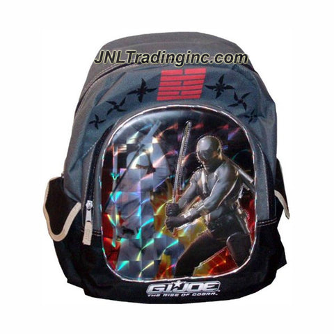"FFN GI Joe Movie Series The Rise of Cobra Backpack  with Snake Eyes and Storm Shadow Image Plus 2 Compartments, 2 Side Accessory Pocket & Adjustable Padded Shoulder Straps (Dimension : 15"" x 12"" x 5"")"